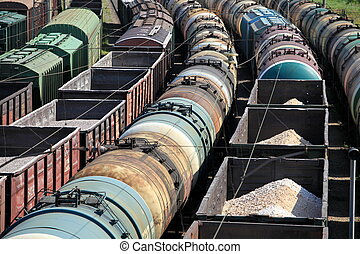 rail freight - A train yard full of freight trains High...