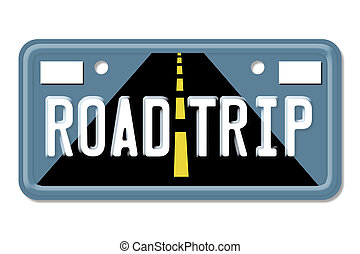 Road Trip, The words Road Trip on a blue license plate...