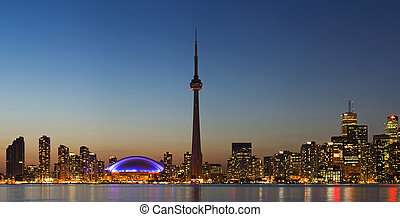 Panorama of Toronto skyline at dusk - Toronto skyline at...