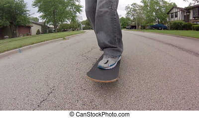 Skateboarding Close Up - Low angle tracking shot, in front...