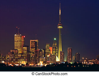 Toronto downtown core at night - Toronto skyline seen from...