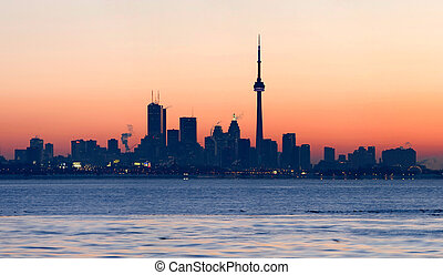 Toronto Skyline at dawn - Toronto skyline with CN Tower and...