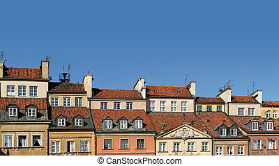 Colorful panorama of rooftops of old townhouses - Panoramic...