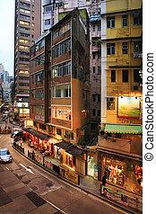 Old residential building in Hong Kong - HONG KONG, CHINA -...
