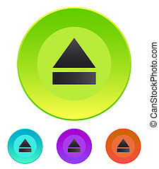 Arrow sign on CD-ROM drive Media player Flat design in...