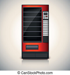 Vending Machine with shelves, red coloor. Vector icon, eps10