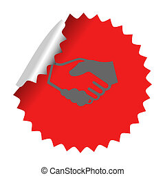 Handshake icon in sticker Vector illustration EPS 10