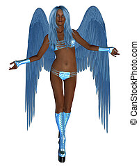 African American Angel - African blue angel, standing with...