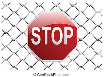 mesh fence stop - metal mesh fence as a background or object...