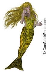 Swimming Mermaid - Yellow haired and tailed mermaid swimming