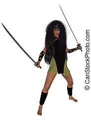 Woman Holding Swords - Woman standing holding two swords