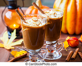 Pumpkin Spice Coffee - Pumpkin spice coffee with whipped...