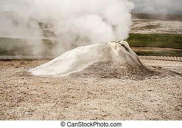 Fumarole in the geothermal area Hveravellir, central...