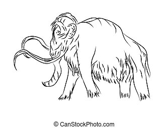 mammoth. outline animal isolated on a white background