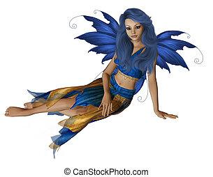 Summer Fairy - Blue and yellow fairy sitting down