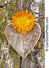 heart at tree - wooden carved heart with flowers at tree...