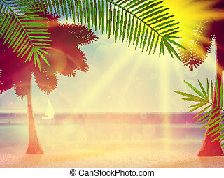 Vintage poster of tropical beach.