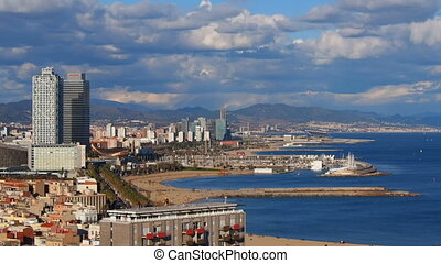 Barceloneta Beach in Barcelona - Aerial view of Barceloneta...