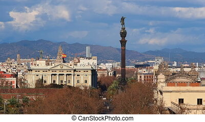 Columbus Monument in Barcelona - Monument of Christopher...