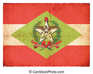 Grunge flag of Santa Catarina (Brazil) - Flag of the...