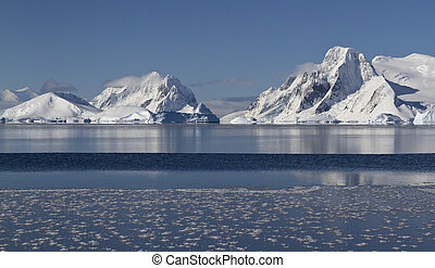 mountains and islands of the Antarctic Peninsula in winter...