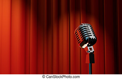 3d retro microphone on red curtain background - 3d retro...