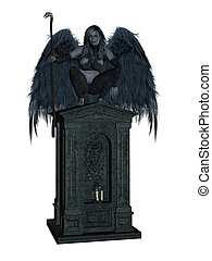 Angel of Death - Angel of death, sitting on a tomb with...