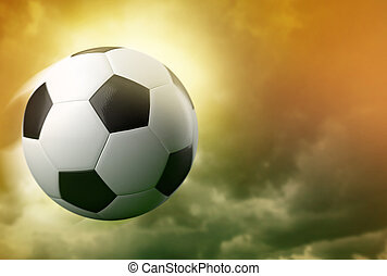3d soccer ball on dramatic sky background - 3d soccer ball...