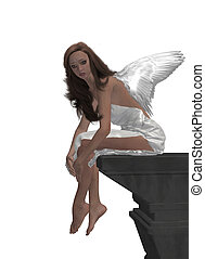 Angel Sitting On A Ledge - Angel sitting on a ledge, looking...