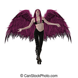 Gothic Pink Angel - Gothic pink angel with wings spread and...