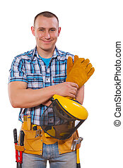 young worker with tools looking at camera isolated