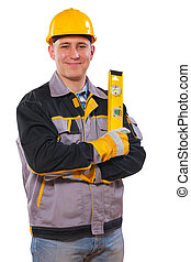 men wearing working clothes holding construction level...