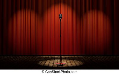 3d vintage microphone on stage with red curtain - 3d vintage...