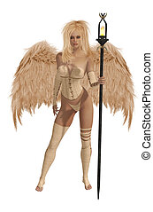 Beige Winged Angel With Blonde Hair - Beige winged angel...