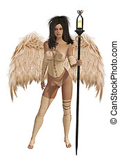 Beige Winged Angel With Dark Hair - Beige winged angel with...
