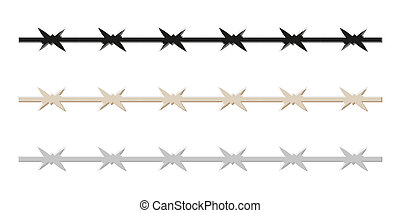 barbed wire - sketch of the barbed wire, isolated, vector