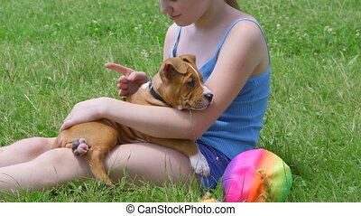 Child with her puppy dog - Child with her american...