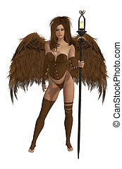 Brown Winged Angel With Brunette Hair - Brown winged angel...