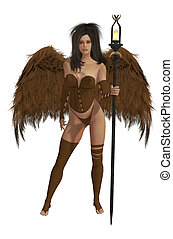 Brown Winged Angel With Dark Hair - Brown winged angel with...