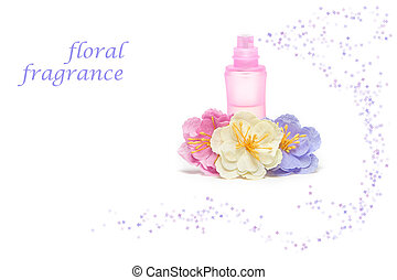 Floral perfume - Perfume bottle with flowers on white...