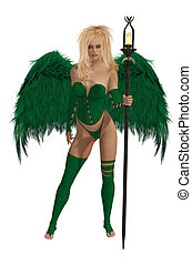Green Winged Angel With Blonde Hair - Green winged angel...