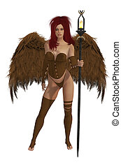 Brown Winged Angel With Red Hair - Brown winged angel with...