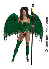 Green Winged Angel With Dark Hair - Green winged angel with...