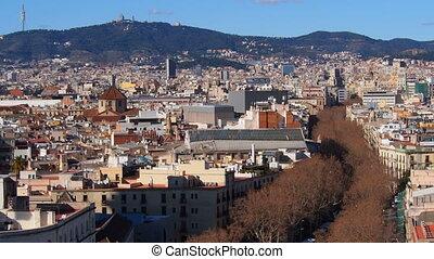 La Rambla in Barcelona - Aerial view of La Rambla in...
