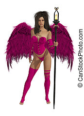 Pink Winged Angel With Dark Hair - Pink winged angel with...