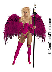Pink Winged Angel With Blonde Hair - Pink winged angel with...