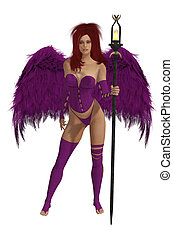 Purple Winged Angel With Red Hair - Purple winged angel with...
