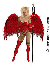 Red Winged Angel With Blonde Hair - Red winged angel with...