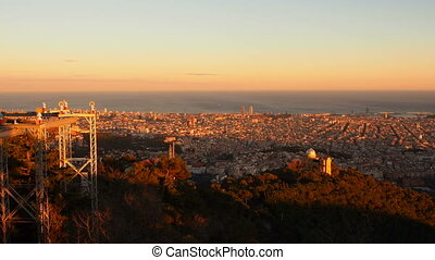 Sunset in Barcelona - Barcelona Cityscape during sunset -...