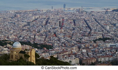 Dusk in Barcelona - Barcelona Cityscape during dusk - view...